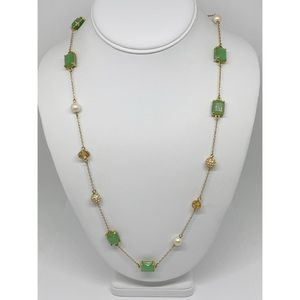 Kate Spade Green Stone & Pearl & Pave Necklace